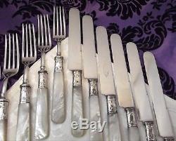 12 Pc Landers Mother of Pearl Handled Fork & Knife Flatware Set Sterling Bands