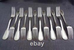 12 antique French silver dinner forks & buffalo horn handled dinner knives