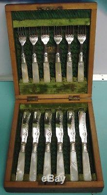 12pc MOP Mother Of Pearl ART NOUVEAU Silver Plate knife Fork box set canteen