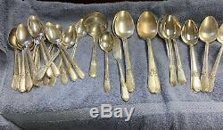 1847 Rogers Bros. 75 Piece Adoration Silver Plate Flatware Set with Case 1930's