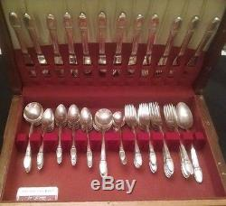 1847 Rogers Bros FIRST LOVE Silver Plate Flatware Set for 12 76 Pieces withChest
