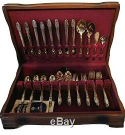 1847 Rogers Bros FIRST LOVE Silverplate 52pc FLATWARE with Chest SET Service for 8