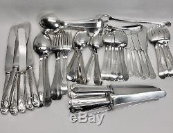 1847 Rogers Bros HERALDIC 1916 Hammered Silver Plate 60 pc Flatware Set + Chest