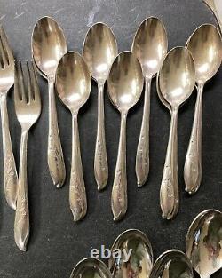 1847 Rogers Bros. IS Springtime Silver Plated Flatware Set 51 Piece Silverware