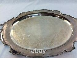 1847 Rogers Bros REFLECTION Silver Plate Large WAITER TRAY For Tea Set #9281