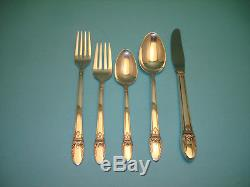 1847 Rogers FIRST LOVE Silverplate Flatware Set with Chest 54 Pcs Excellent Cond