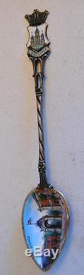 1900s Set of 12 Fine Enamel Souvenir / Caviar / Silver Spoons Collection