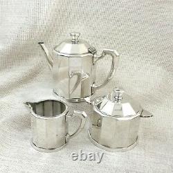 1924 Christofle Silver Plated Teapot Tea Set Rare French Art Deco Geometric