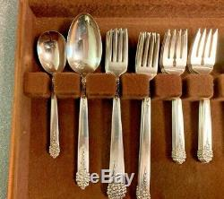 1949 NSC King Edward Moss Rose 52-Piece Silverplate Flatware Set for 8 with Box