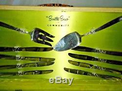 1955 Oneida/South Seas Community Vintage 54/PC Silverware Set WithWood Case/+Bonus