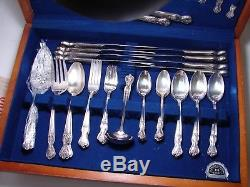 1960's Wm A Rogers Inspiration Magnolia Silverplate Flatware Set withChest 57 pc