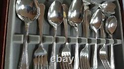 1990's Viners Sheffield'Bead Pattern' Silver Plate Cutlery 6 Settings 44 pieces