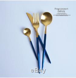 24-Piece Modern Blue Gold Stainless Steel Flatware Cutlery Set (6 Settings)