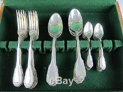 37 Piece Set of BOULENGER Silver Plate Flatware in a King's Crown Type Pattern