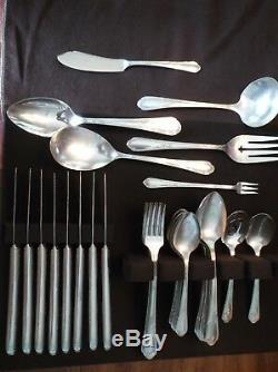 45 Pc. Viande Set Wm A Rogers Silver Plate Flatware (Meadowbrook/Heather) C. 1936