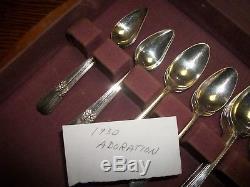 51 piece Vintage Silverware Set 1847 Rogers Bros IS ADORATION Flatware Vtg