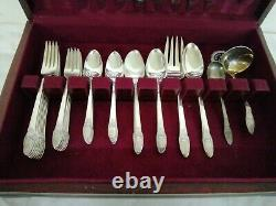 52 piece Vintage 1847 Rogers Bros FIRST LOVE Silverware Set with Box