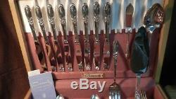 55 Piece Set of Oneida Community Silverplate Flatware White Orchid Pattern