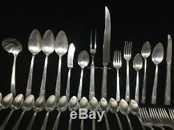 56 Piece Oneida Nobility Plate CAPRICE ART DECO Vtg 1937 Silver Plate Flatware