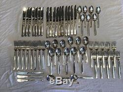 59 Pc Set Oneida Community South Seas Silverplate Knives Forks Spoons Sugars