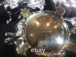 5pc Antique Community Sheffield Replica Silver Plate Melon Form Tea Set