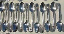 61 Piece 1847 Rogers Bros. First Love Pattern Silver Plated Flatware Set Vintage