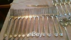 61 pc Reed & Barton Old London Silver Plate Flatware Set Forks Knives Spoons lot