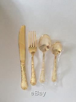 63 Pc Set Gold Plated Flatware Rogers Bros New In Box