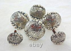 6 Piece Hansen Conchos Antiqued Manzanillo Silver plate Horse Saddle Set Screws