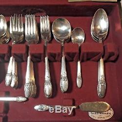 71 pc Rogers Bros First Love Silverplate 8 Place Settings + Extras in Chest EUC