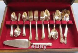 72 Pc Set for 12, International Silverplate Spring Garden Flatware w Serving Box