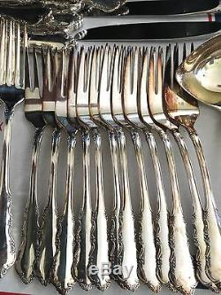 74-Piece SET of Silverplate Flatware Reed & Barton Dresden Rose 1953 Pattern