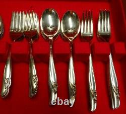 76 PC Rogers Bros Exquisite Silverplate Flatware Set With Case Service For 12