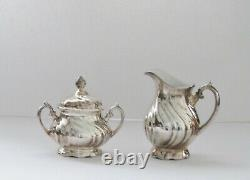 7 Pc. Vintage WMF German Judendstil Silver Plate over Porcelain Coffee & Tea Set