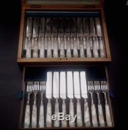ANTIQUE 36 pc MOTHER OF PEARL & SILVER PLATE DESSERT CUTLERY SET- SHEFFIELD