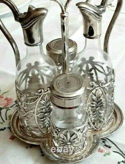 ANTIQUE Cruet Set of 4 Salt Pepper Oil Vinegar Silver Plate Mint