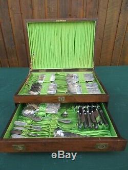 ANTIQUE Cutlery Flatware Silverware Set 12 Setting OAK Wooden Box Double Drawer