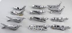 ANTIQUE FRENCH SET 12pc ART DECO ANIMAL SILVER PLATED KNIFE RESTS design SANDOZ
