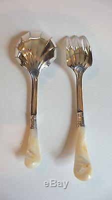 ANTIQUE SILVER PLATE SALAD SET FORK & SPOON with MOTHER-OF-PEARL HANDLES