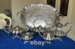 ANTIQUE Silver Plated Tea Coffee Set With Tray- Rare Pattern England