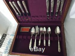 ANTIQUE WM Rogers 50 Piece Waverly flatware silverplate Set with Certificate