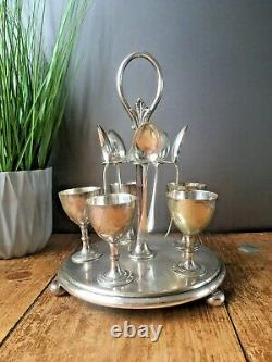 ANTIQUE c1872-91 SILVER PLATED THOMAS WHITE OF SHEFFIELD 5 EGG CUP SET ON STAND