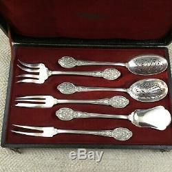 Antique Christofle Cutlery Set Ornate Dessert Serving Flatware Rare Boxed Cased
