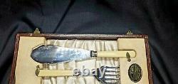 Antique Fish Serving Cutlery Set ENG Silverplate Bone English