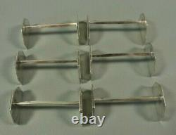 Antique French ART DECO Hallmarked Silver Plated Knife Rest Set of 6 Modernist
