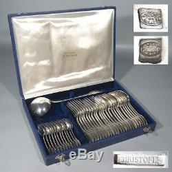 Antique French Christofle Marie Antoinette Silver Plated Flatware Set, 37 pcs
