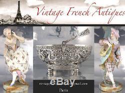 Antique French Christofle Silver Plated Flatware Set, Baguette Ecusson Louis XVI