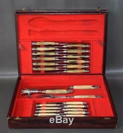 Antique French Louis XVI Style Horn Handle Knife Set of 24 Knives & Carving Set