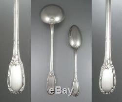 Antique French Silver Plate Flatware Set, Dinner Spoons & Forks, Ladle, 26 pcs