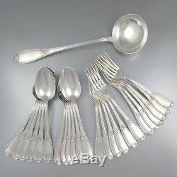 Antique French Silver Plate Flatware Set for Twelve, 25 pcs w Case, Félix Frères